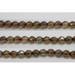 30 perles verre facettes poudre brun 6mm
