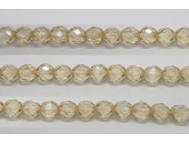 30 perles verre facettes poudre beige 14mm