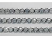 30 perles verre facettes poudre gris 14mm