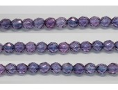 60 perles verre facettes poudre mauve 4mm