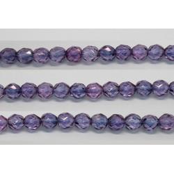 30 perles verre facettes poudre mauve 6mm