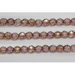 60 perles verre facettes poudre rose 5mm