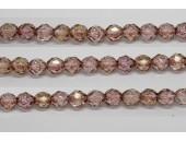 30 perles verre facettes poudre rose 6mm