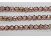 30 perles verre facettes poudre rose 10mm