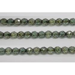 60 perles verre facettes poudre vert 3mm