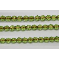 60 perles verre facettes peridot trou cuivre 4mm