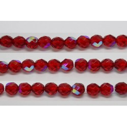 30 perles verre facettes rubis A/B 8mm