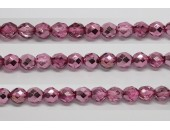 600 perles verre facettes rose fonce demi metalise 5mm