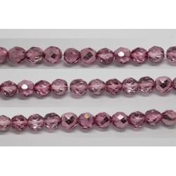 30 perles verre facettes rose demi metalise 8mm