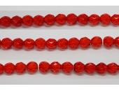 60 perles verre facettes rubis clair 3mm