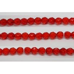 60 perles verre facettes rubis clair 4mm