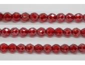 30 perles verre facettes rubis lustre 6mm