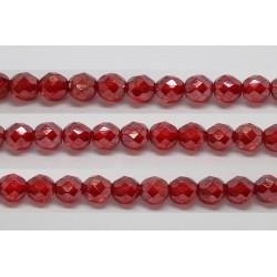 30 perles verre facettes rubis lustre 12mm