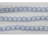 60 perles verre facettes saphir clair 5mm