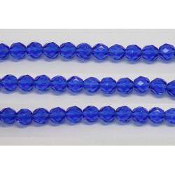 60 perles verre facettes saphir 5mm