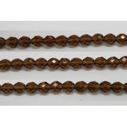 30 perles verre facettes smoke topaze 12mm