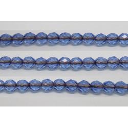 60 perles verre facettes saphir trou cuivre 4mm