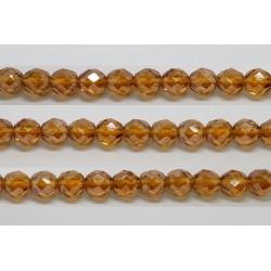 60 perles verre facettes topaze fonce lustre 5mm