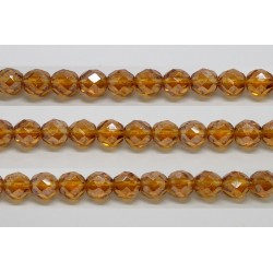 30 perles verre facettes topaze fonce lustre 6mm