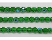 60 perles verre facettes vert A/B 3mm