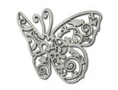 5 Papillons 70mm argentes