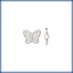 5 Perles Papillons 10mm Argent Véritable