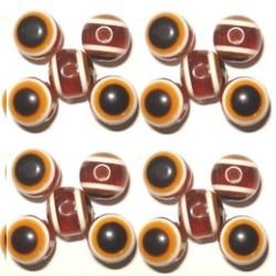 100 Olives Oeil Acrylique Marron 6x8mm