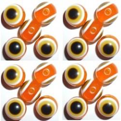 50 Perles Oeil Acrylique Orange 14mm