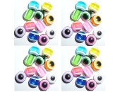 100 Perles Oeil Acrylique Multicolor 10mm