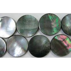 Rond plat Nacre grise 'BLACK LIP' 25mm