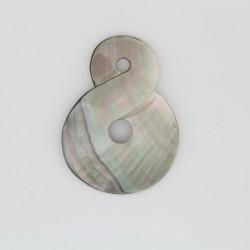3 pendentifs ' huit ' Nacre grise 'BLACK LIP' 50x40