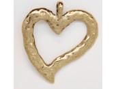 5 pendentifs coeurs metal doré antique 51x47x3mm