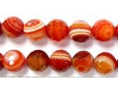 Perles Facettes Agate Rouge Striée 4mm - Fil de 40 Centimetres