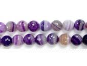 Perles Facettes Agate Pourpre Striée 4mm - Fil de 40 Centimetres