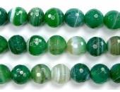 Perles Facettes Agate Verte Striée 4mm - Fil de 40 Centimetres