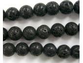 Perle Pierre de Lave Noire Naturelle 12mm